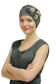 Grey Tartan Ready Made Elasticated Cancer Chemo Head Scarf