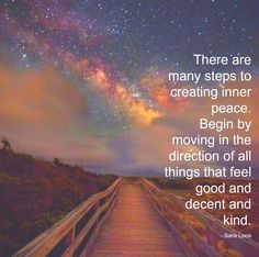 There are many steps to creating inner peace. Begin by moving in the direction of all things that feel good and decent and kind. - Sara Loos Inner Peace, Feel Good, Bee, Bees