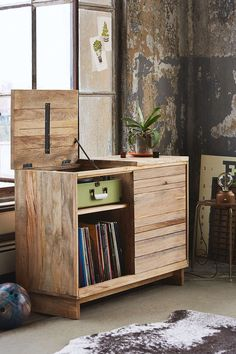 4040 Locust Wooden Media Console - great for storing the Crosley record player which can take up so much space that just makes an area look busy. Would help the office keep a focused look while not being too serious. Record Player Console, Record Cabinet, Record Stand, Record Players, Lp Regal, Diy Furniture, Furniture Design, Apartment Furniture, Furniture Storage