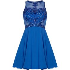 CHARITY Blue Prom Dress with Fish Net and Beaded Detail ($470) ❤ liked on Polyvore featuring dresses, blue beaded dress, cocktail prom dress, netted dress, evening wear dresses and prom dresses