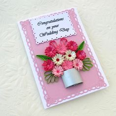 Paper Quilling Card Paper Quilled Personalized Birthday Wedding Congratulations Anniversary Silver-Pink Flower Handmade- Enchanted Quilling. $7.50, via Etsy.