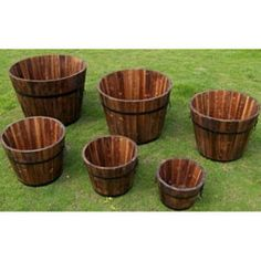 @Overstock - These round planters are naturally stylish and made to last. Hand-crafted with real cedar wood, they will surely make for an attractive display in any outdoor living area.http://www.overstock.com/Home-Garden/Round-Cedar-Wood-Whiskey-Barrel-Planters-Set-of-6/6425906/product.html?CID=214117 $129.99