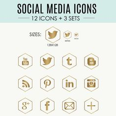 Warm Gold Social Media Icons // 12 Icons  3 Sets //  by kemidesign, $7.00