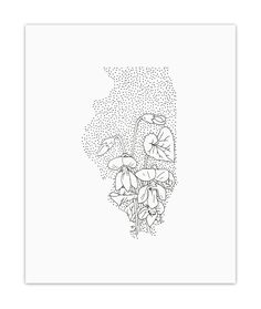 Illinois- Archival Print. ILLINOIS + PURPLE VIOLET This 8x10 inch piece is a part of Anna's State Flower series of artwork in which she drew each state made up of its state flower. It is printed with archival pigment inks on heavyweight, ultra-smooth paper with a matte finish. These high-quality materials create a rich and vibrant print that will last for years and years to come. Signed on the back. It is packed in a cello sleeve and mailed in a rigid mailer to ensure that it arrives at…