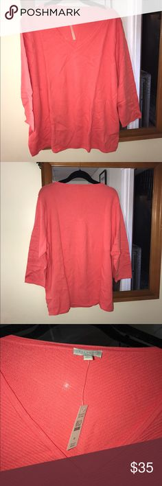 Talbots Coral Sweater Lightweight coral color sweater.  New with tags.  Lightweight, matches a coral button down in my closet perfectly! Talbots Sweaters V-Necks
