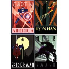 Marvel Superheroes Art Decco Poster Set