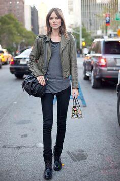 love this look....plus, Balenciaga leather jacket