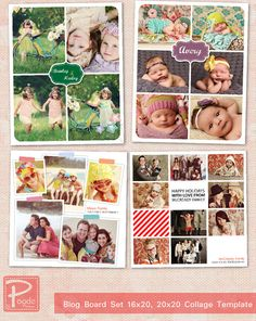 Photoshop Blog Board Set 20x20 & 16x20 Collage Template : he761  BUY 1 GET 1 FREE