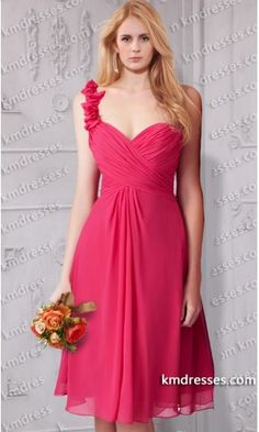 Fabulous One shoulder knee length sweetheart chiffon Bridesmaid gownes .prom dresses,formal dresses,ball gown,homecoming dresses,party dress,evening dresses,sequin dresses,cocktail dresses,graduation dresses,formal gowns,prom gown,evening gown.