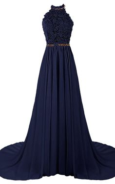 A Line Halter Tulle Chiffon Sweep Train Beading Dark Navy Open Back Prom Dress