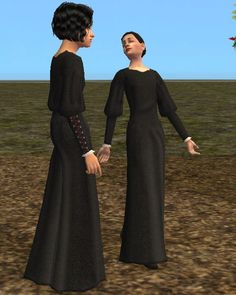 Androgyny-Medieval Laced Sleeve Gowns