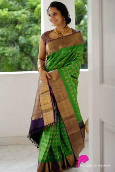 Check out some glorious kanjivaram silk sarees for festivals for the renowned brand called House of Ayana. Pattu Saree Blouse Designs, Half Saree Designs, Saree Blouse Patterns, Fancy Blouse Designs, Bridal Blouse Designs, Latest Silk Sarees, Wedding Saree Collection, Indian Beauty Saree, Indian Sarees
