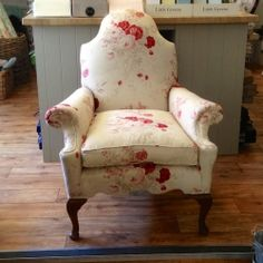 Reupholstered Antique Chair in Kate Forman Red Roses