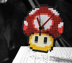 Super Mario Bros Red Mushroom Clock perler fuse beads by BeadxBead