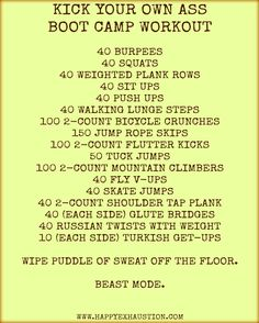 BOOT CAMP workout you can do at home! Designed by the personal trainer & combat veteran I'm married to. For more workouts and fitness tips, visit www. Fitness Workouts, At Home Workouts, Fitness Tips, Health Fitness, Hard Core Workouts, Hard Workout, Cardio Workouts, Group Fitness, Fitness Goals