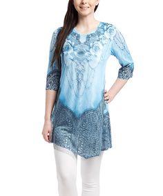 Look at this #zulilyfind! Blue Floral Shift Dress #zulilyfinds