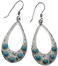 Vogt Sterling and Turquoise Teardrops Earrings at Cowgirl Blondie's Western Boutique