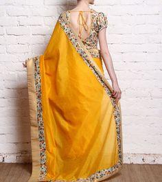 Yellow Handwoven & Printed Chanderi Saree