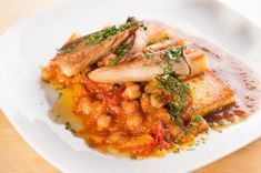Fried Polenta with Chickpeas and Fig Puree