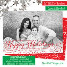 elegant happy holidays card printed holiday photo card black and white red calligraphy script custom personalized christmas cards - Custom Christmas Cards
