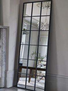Buy Metal Window Floor Standing Mirror from the Next UK online shop Hall Mirrors, Living Room Mirrors, Mirror Door, Home Living Room, Mirror Glass, Large Wall Mirrors, Large Black Mirror, Black Floor Mirror, Window Mirror Decor