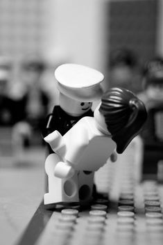 love and romance in the lego world | funny | quirky | black & white | kiss | embrace | lovers | intimacy | kids toys | www.republicofyou.com.au