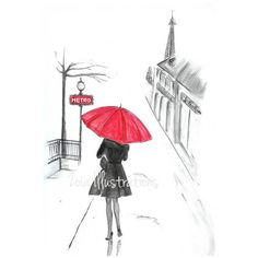 Paris rain fashion illustration print, Red umbrella French girl, Paris... (215 ZAR) ❤ liked on Polyvore featuring home, home decor, wall art, art, girls, french wall art, french home decor, paris home decor, parisian home decor and girls wall art