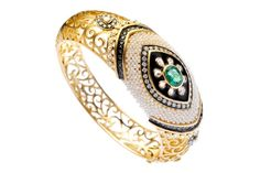 Diamond, pearl and emerald bangle, Moksh http://www.vogue.in/content/jewellery-report-2012-mughal#2