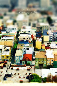 "San Francisco Photo. City Photo. tilt shift photo. ""Mini City"" 8.5x11in Photo. Houses. buildings. colorful. mini. red. yellow. green. blue, via Etsy."