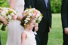 Flower girl crown with White Majolica spray roses, yellow kangaroo paws and seeded eucalyptus. Flowers by Cincinnati wedding florist Floral Verde LLC.