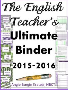 These dividers and forms are designed for a high school English teacher. Pick out your favorite binder, print, punch some holes, and youre ready to start the 2015-2016 school year in a way that organizes everything from your parent contacts to your benchmark data. $
