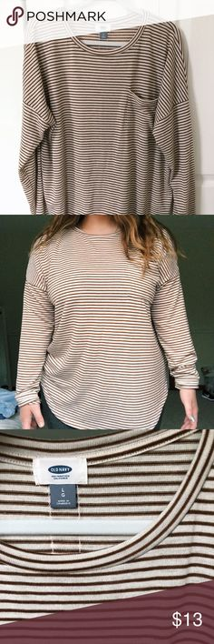 Long sleeve, white and brown stripes New, only worn once! (Nothing wrong, not my size) Old Navy Tops Tees - Long Sleeve