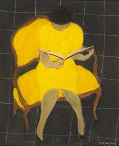 Lecture au Fauteuil   -  Pierre Boncompain  French b.1938-  Pastel on board , 18 x 15 inches