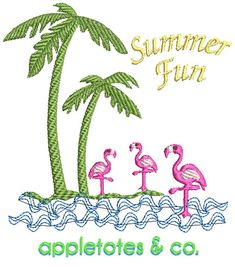 """Florida Summer Fun machine embroidery file available now! Designed for accessories to fit 18"""" dolls such as Our Generation or American Girl and is created specifically to go perfectly on the Oversized Beach Bag sewing pattern.Made to go with the Oversized Beach Bag and either the Flamingo Flats OR Palm Beach Flats for a super fun outfit! Finished dimensions: 3.71""""(w) x 3.68""""(h). // This listing includes: Florida Summer Fun design file in 4"""" x 4"""" in the following formats: .DST, .EXP, .HUS… Embroidery Files, Embroidery Thread, Embroidery Patterns, Oversized Beach Bags, Yellow Shop, Machine Embroidery Projects, 18 Inch Doll, Colorful Pictures, Fun Projects"""