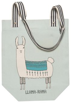 Now Designs Canvas Market Bag Tote Bag Lamarama Lama Collection NWT Large Utility Tote, Little Red Hen, Teal Background, Market Bag, Zipper Pouch, Canvas Tote Bags, Cotton Tote Bags, Cosmetic Bag, Studio Studio