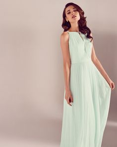 Ted Baker Pleated maxi dress Light Green