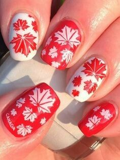 nice Canadian Nail Fanatic: Another Canada Day Mani! Fancy Nails Designs, Bridal Nails Designs, Beach Nail Designs, Nail Polish Designs, Nail Art Designs, Gel Toe Nails, Blue Stiletto Nails, Red Nails, Nice Nails