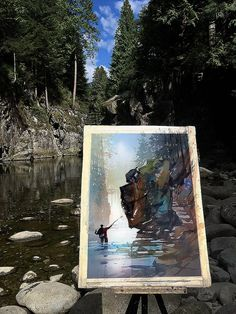 Fly Fishing on the Capilano Thomas W Schaller - Plein-Air Watercolor Sketch. 14x21 inches   13 Sept. '16