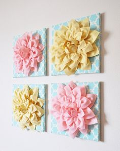 "Set of Four Light Yellow and Light Pink Dahlias on Blue Tarika 12 x12"" Canvases Wall Art- CHOOSE YOUR COLORS- on Etsy, $120.00"