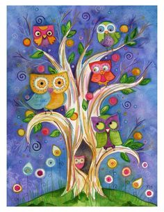 All Together Now 8.5x11 Archival Owl Art by LaurenAlexander