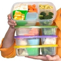 (Set-5) - Assorted-Colours 3-Compartment Bento Lunch Box Plastic Food