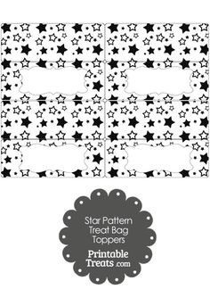 Black Star Pattern Treat Bag Toppers from PrintableTreats.com