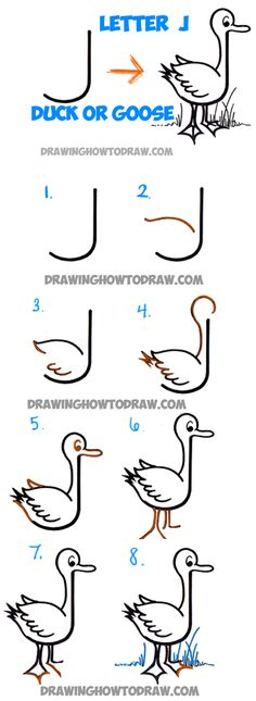 Learn How to Draw Cartoon Goose or Duck from Letter J Shape - Simple Steps Drawing Tutorial for Kids Word Drawings, Doodle Drawings, Cartoon Drawings, Easy Drawings, Animal Drawings, Drawing Lessons For Kids, Drawing Tutorials For Kids, Art Lessons, How To Draw Steps