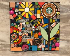 (Original Handmade Upcycled Starbucks Cap Flower Mosaic by Shawn DuBois) Mosaic Vase, Mosaic Flower Pots, Mirror Mosaic, Mosaic Wall Art, Mosaic Garden, Mosaic Stepping Stones, Stone Mosaic, Pebble Mosaic, Mosaic Art Projects