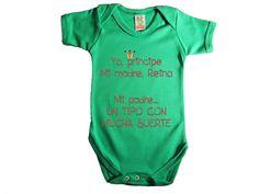 """Bordado de bebé: Body original """"Yo príncipe y mi madre reina"""""""