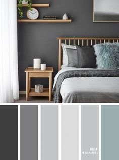 11 Gorgeous Bedroom in Grey Hues - Grey Color schemes grey bedroom color bedroomcolor 849069335980998565 Relaxing Bedroom Colors, Small Bedroom Colours, Grey Colour Scheme Bedroom, Best Bedroom Colors, Grey Color Schemes, Interior Colour Schemes, Romantic Bedroom Colors, Beautiful Bedrooms, Home Decor Bedroom
