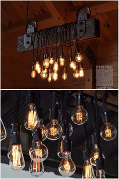 Wood Plank Pulley Farmhouse Chandelier: This is a long chandelier made from two x x pine boards. Forged iron brackets hold pulley wheels that are suspended from thin wire braided rope and turnbuckles for leveling. Nothing brings Farmhouse Chandelier Lighting, Chandelier Design, Modern Farmhouse Lighting, Wood Chandelier, Wood Lamps, Rustic Lighting, Industrial Farmhouse, Lighting Ideas, Outdoor Chandelier