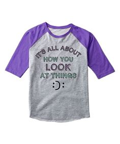 Athletic Heather & Purple Smiley Face Raglan Tee - Girls