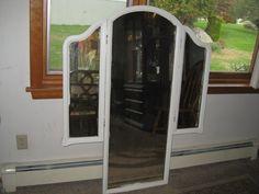 White wood-vanity-trifold-mirror-dresser