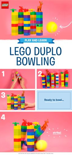 LEGO DUPLO bowling is a really simple and fun play activity for preschoolers. This game needs very little prep – just grab a handful of bricks and a ball! While they enjoy attempting to knock down the pins, your little one will be working on their fine and gross motor skills, without even realizing they're learning. Ready, set, BOWL!  Find out more:   https://www.lego.com/en-gb/family/articles/make-your-own-duplo-bowling-cc2602f12fcc4f8bbed9905a20b3cc0c